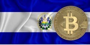 Drapeau du Salvador contenant un bitcoin