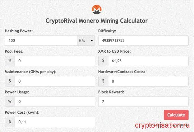 калькулятор доходности Monero
