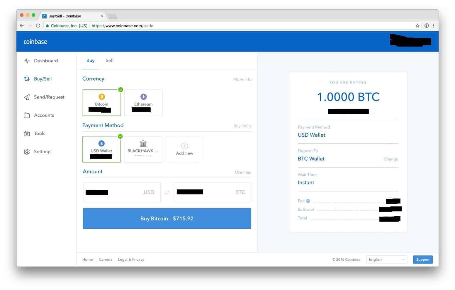 Coinbase Buy-Sell screen