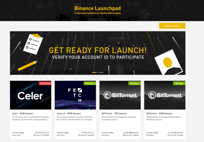 Binance Launchpad Home Screen