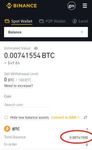 Btc balance on Binance