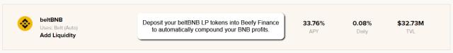 Beefy Finance beltBNB Vault