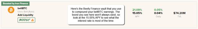 Beefy Finance beltBTC Vault