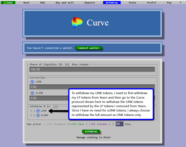 Withdrawing LINK From Curve Finance