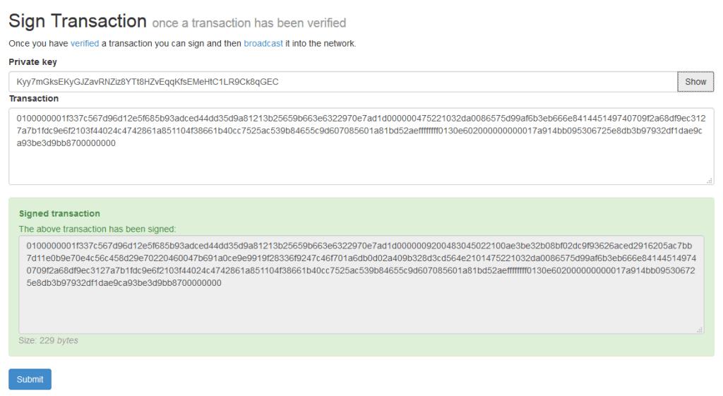 Signing A Bitcoin Transaction