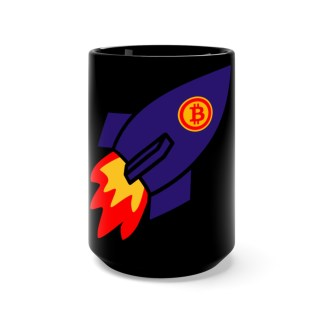 Bitcoin Rocket Black Drinks Mug
