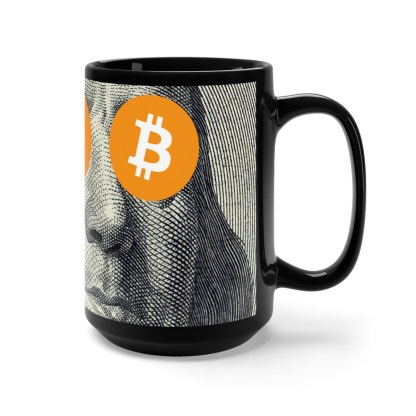 Bitcoin & Ben Franklin Design Black Mug
