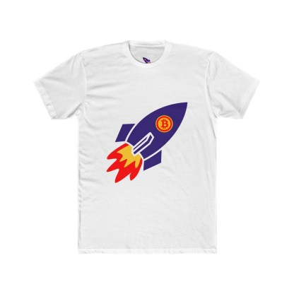 Bitcoin Rocket Cotton Crew T-Shirt
