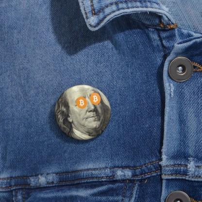 Ben Franklin Bitcoin Pin Button
