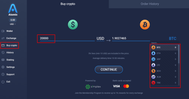 Buy Bitcoin Instantly on Atomic Wallet (Desktop)