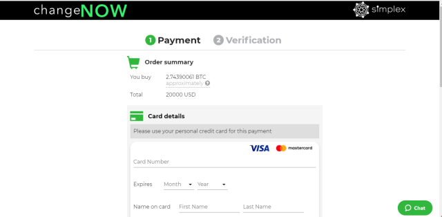 Buying Bitcoin with Debit or Credit Card on ChangeNOW