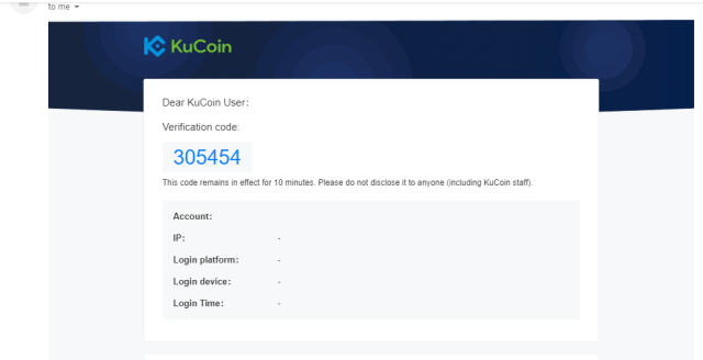 KuCoin Account Email Verification Code