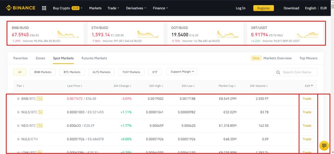 Binance Buy Crypto Page