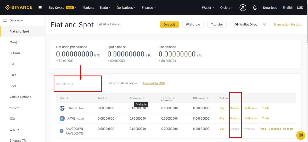 Binance fiat and spot wallet