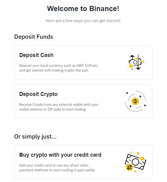 Binance new account welcome page