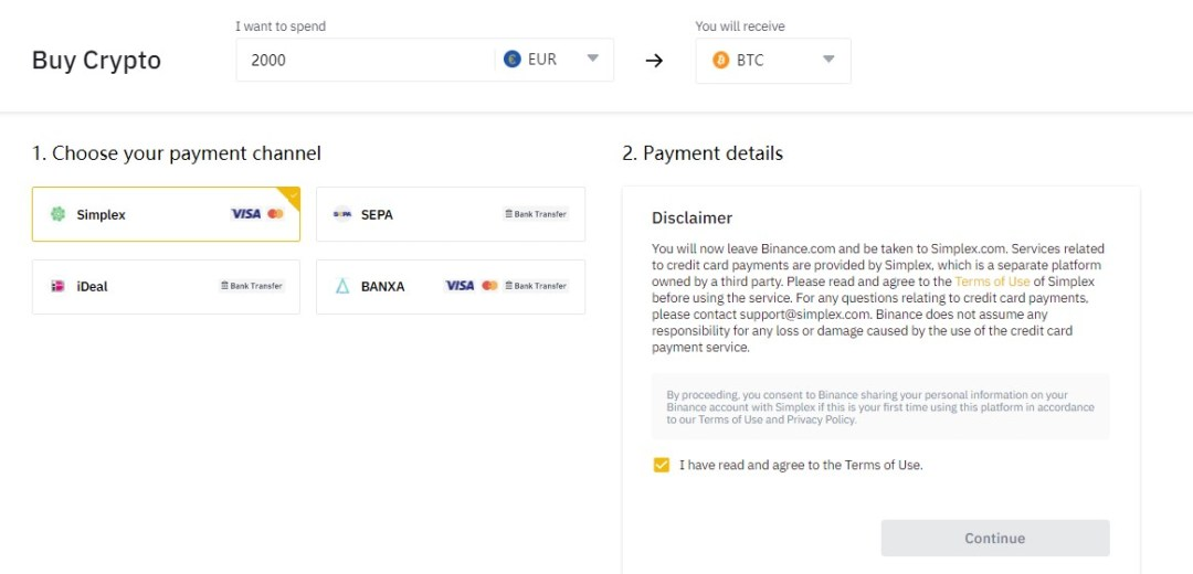 Buy crypto on Binance using third-party payment channels