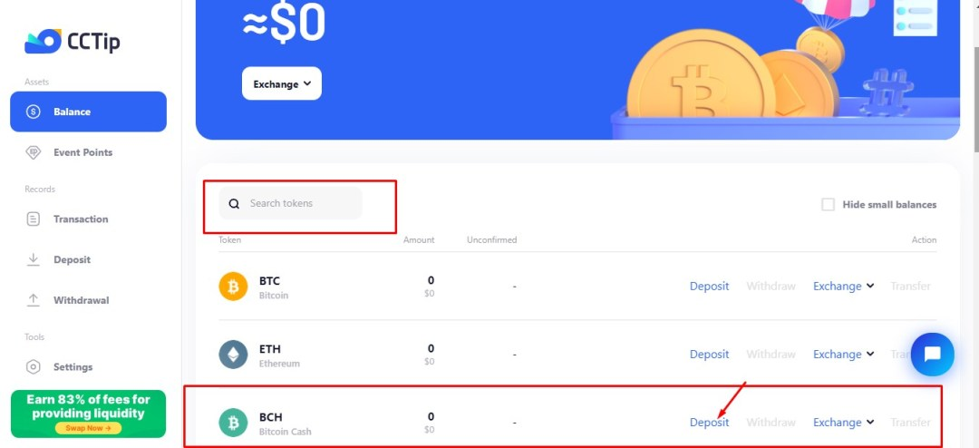 Deposit BCH to your CCTip account