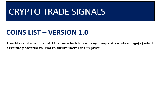Crypto Trade Signals Coin List by www.CryptoTradeSIgnals.org