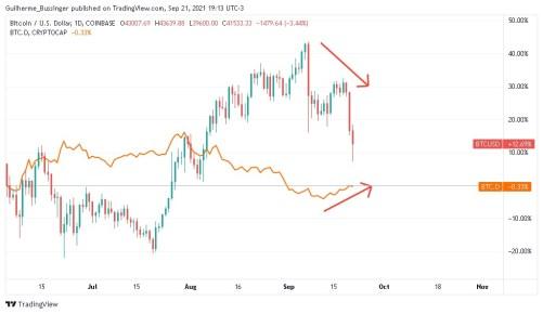 Gráfico indicando queda no preço do DCR e alta na dominância do Bitcoin