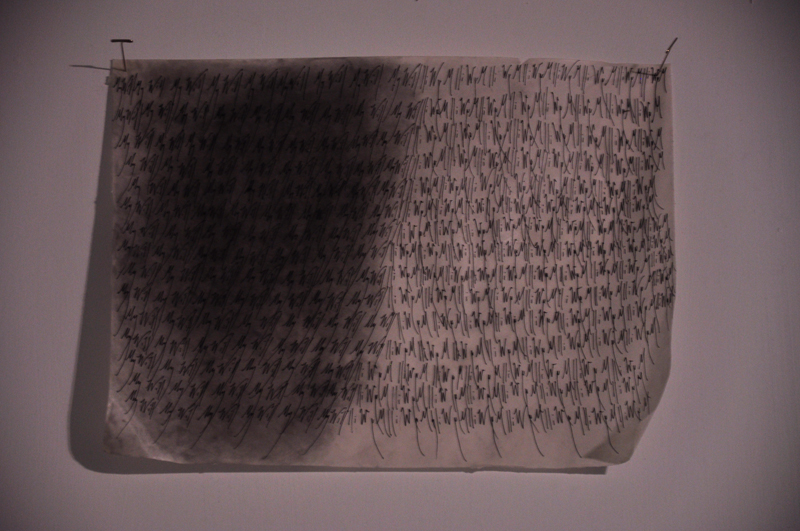 Title: My Will Materials; Graphite and Ink on paper soaked in R&F Encaustic Medium.