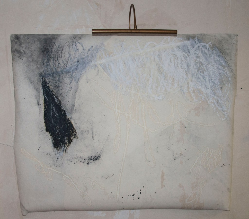 Title: Untitled Date: 50 x 40 inches Dimensions: Materials: R&F White Pigment Oil Stick, R&F black Pigment Oil Stick, Loose Graphite Powder, on wall paper from 1H doctor's office. Drawing made after listening to post hypnotic suggestion recording. Drawing worked on three times.