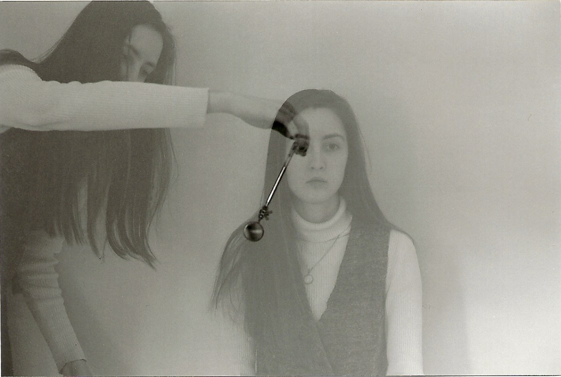 Hypnosis mirror test by Crystal Dyer 35mm film photo b&w