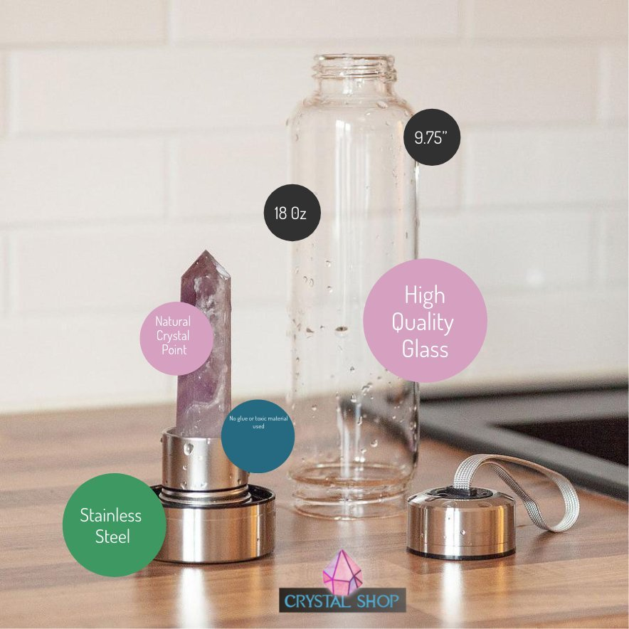 Healing Crystal Water Bottle - Crystal Infused Water Bottle