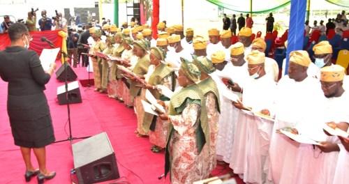 PHOTO: Sanwo-Olu Swears-In 57 Newly Elected Councils Chairmen-Crystal News