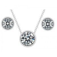 Solitaire Classic Necklace and Earrings Set