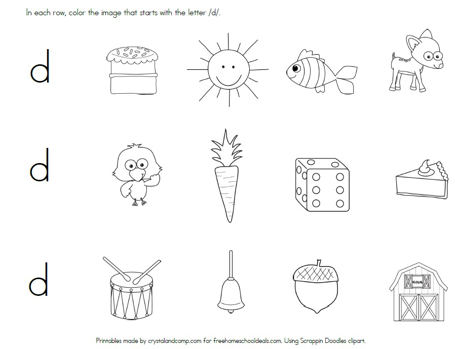 FREE LETTER D WORKSHEETS (Instant Download)