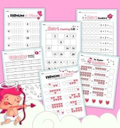 Valentine Themed Math Worksheet for Kindergarten [ 2254 x 2317 Pixel ]