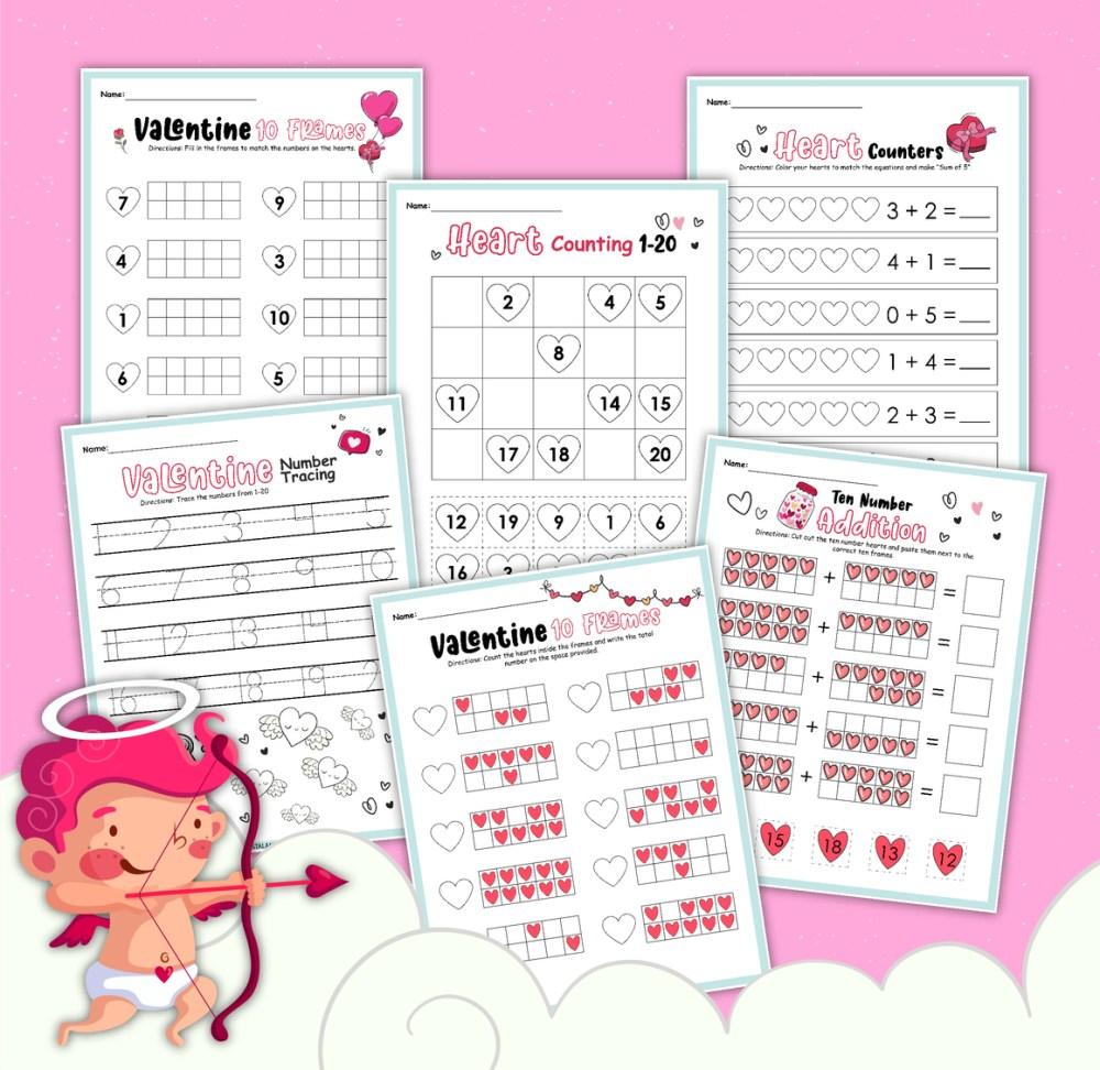medium resolution of Valentine Themed Math Worksheet for Kindergarten