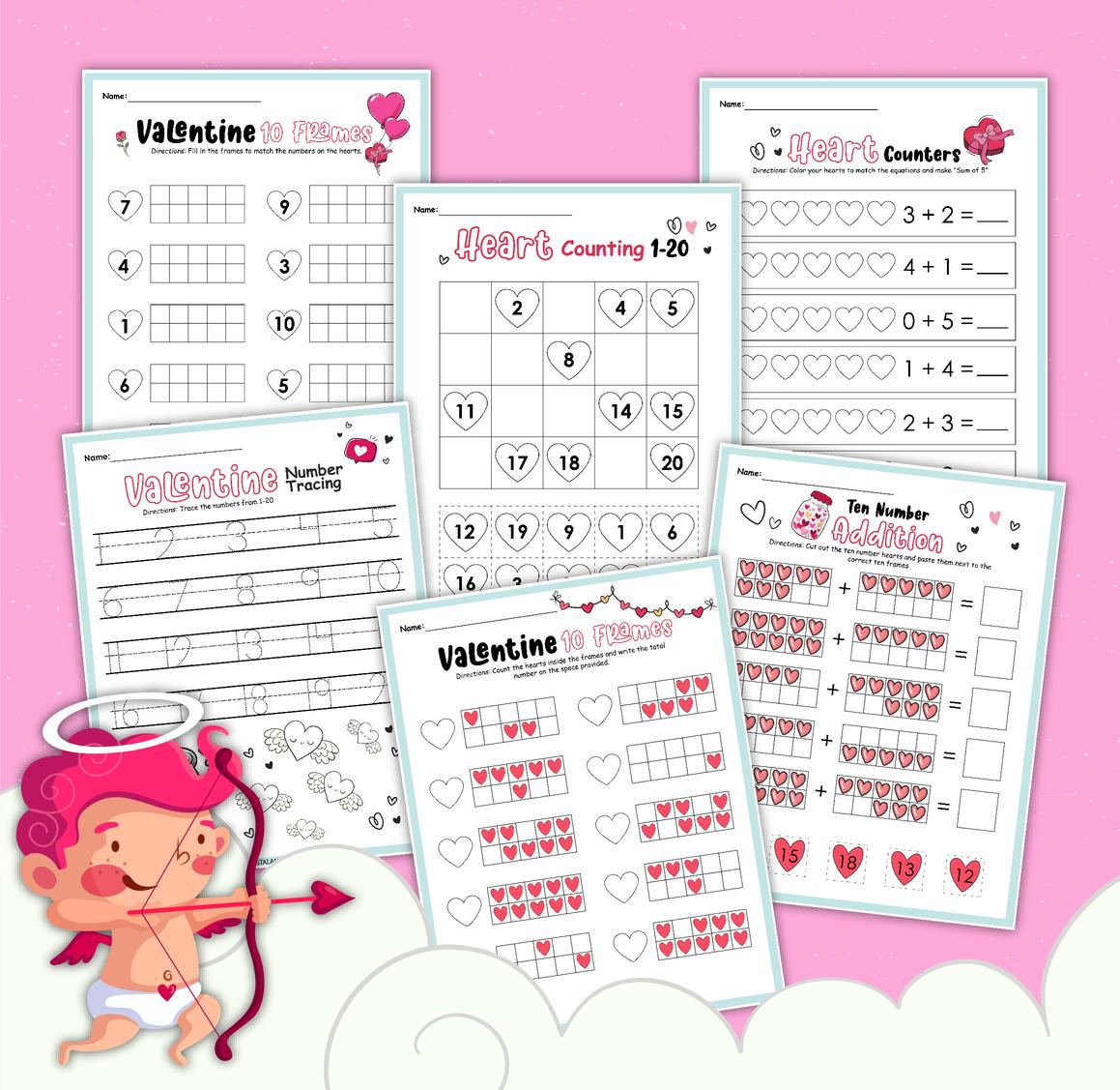 hight resolution of Valentine Themed Math Worksheet for Kindergarten