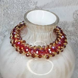 Red Gold Crystal Bracelet with T-Bar - 205mm
