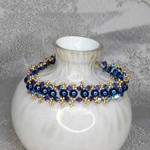 Blue Gold Bracelet - Blue Glass Pearls And Gold Seed Beed Bracelet - 200mm