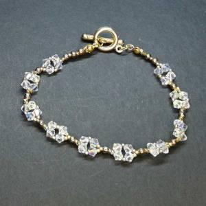 Crystal Gold Bracelet - Swarovski AB Crystal and Beads - 210mm