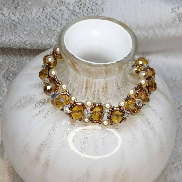 Topaz Gold Crystal Bracelet - Crystal and Beads - 180mm