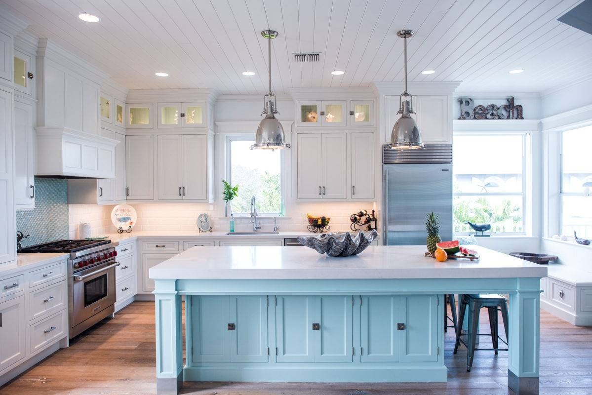 kitchen cabinet ideas for small kitchens gadget stores coastal style white with blue island - crystal ...