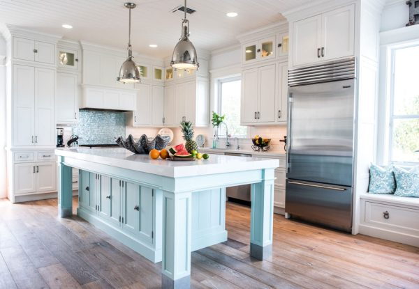 coastal kitchens with white cabinets Coastal Style White Kitchen with Blue Island - Crystal Cabinets