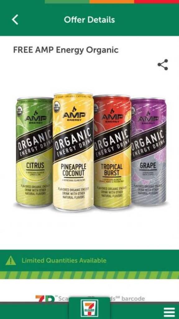 Free Amp organic at 7-Eleven