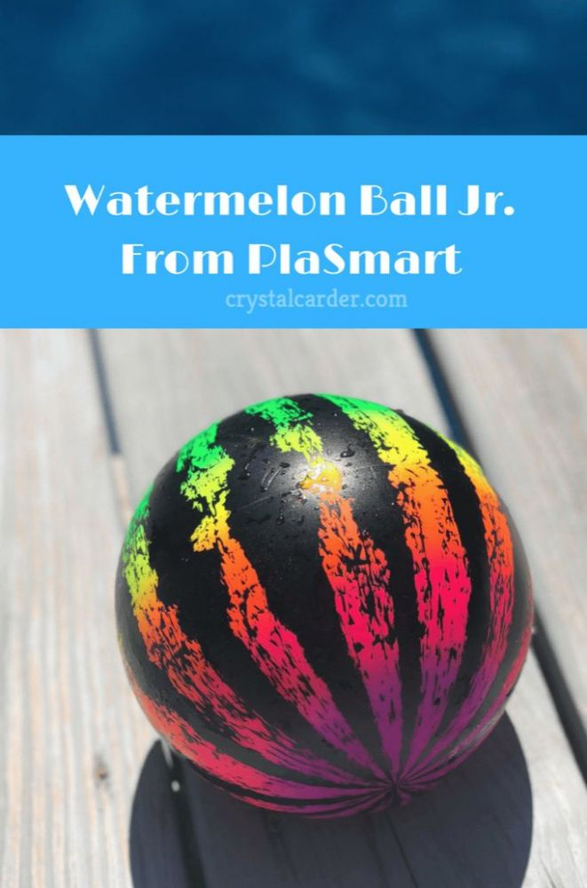 the Watermelon Ball Jr from PlaSmart looks feels and mimics real watermelon in the water