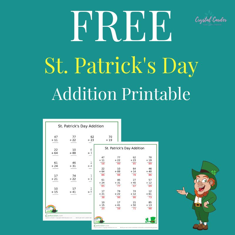 st patricks day addition printable for kids