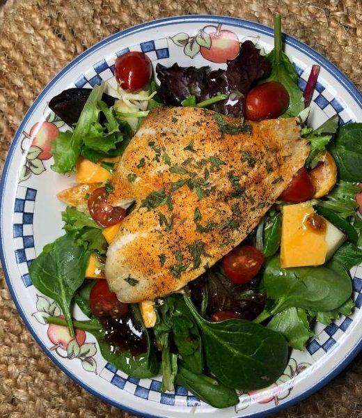 The Best Baked Flounder Salad