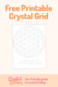 Free Printable Crystal Grid Flower of Life layout for your crystal healing sessions. Learn more about gemstones & crystals & how to use them at crystalcurious.com. #crystals #crystalhealing #chakras #energywork #floweroflife #printable