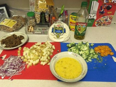 Ingredients sliced and diced.