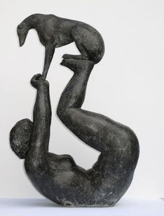 Bronze Sculpture Of Lady And Dog