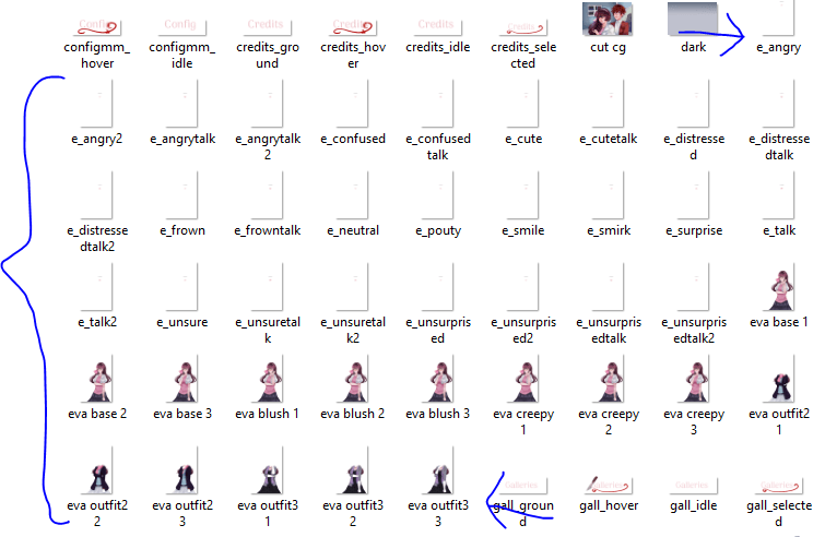 Evalise's zoomed out visual novel sprite image files