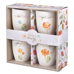 Grateful Joyful Faithful And Thankful (Set Of 4)(Ceramic Mug)