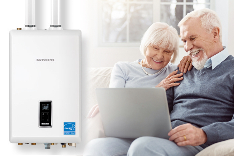 Old couple talking about boiler heating system