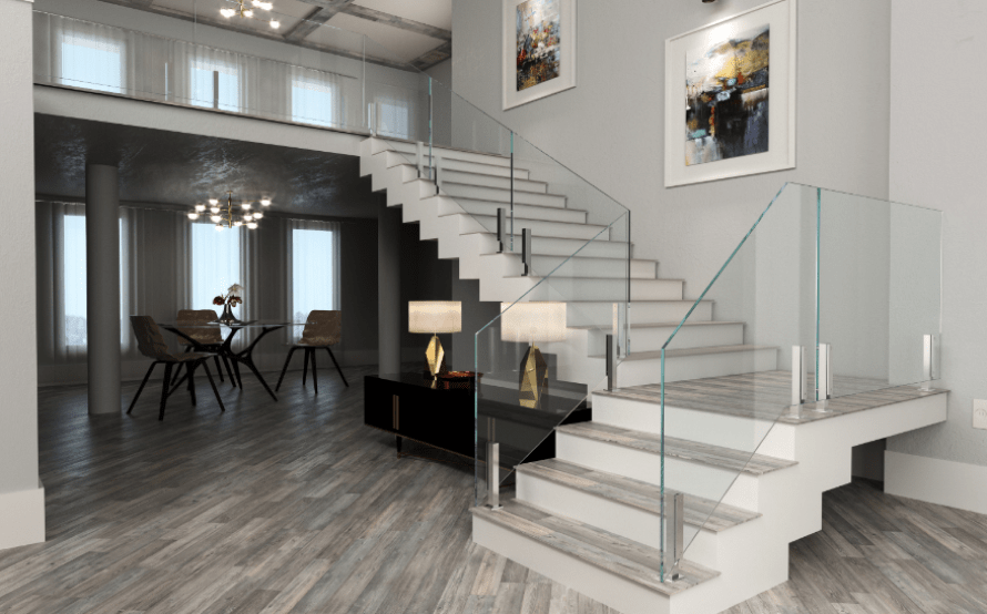 Glass Staircase Railing System Glass Stair Railng | Wood And Glass Staircase | Stair Case | Simple | Spiral | Small | Light Oak Glass
